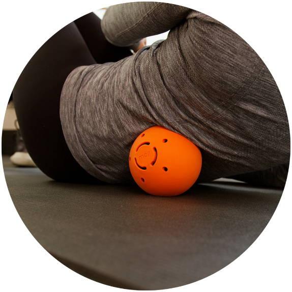 Moji heat ball rolling on back