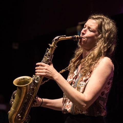 Nicole Joanntgen playing alto saxophone