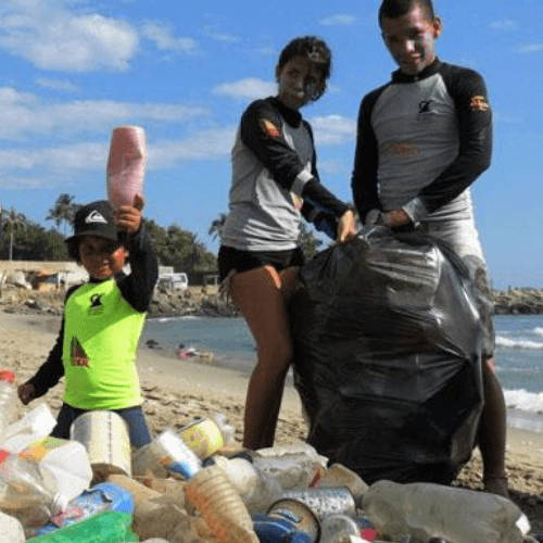 Man, Woman and Kid Beach Clean-Up