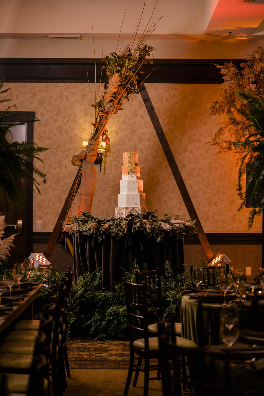 Stems Fresno Wedding Reception Cake Table