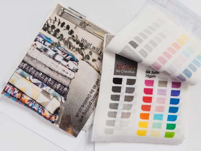 BeFab Be Creative's sample book, showing all our natural fabrics with digitally print colour chip examples