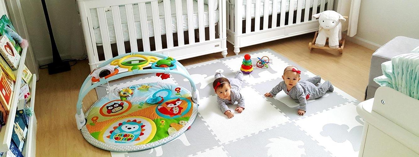 SoftTiles Baby Play Mats- Safari Animals Light Gray and White Foam Mats