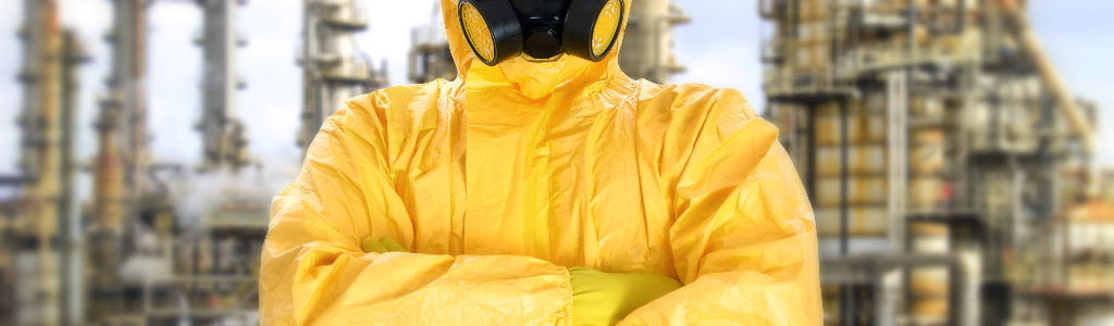 Worker in Level B Protective Gear