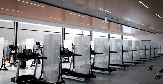 Freestanding barrier partitions in the gym between treadmills