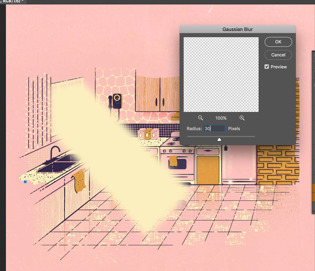 Gaussian Blur panel settings in Photoshop for light effects