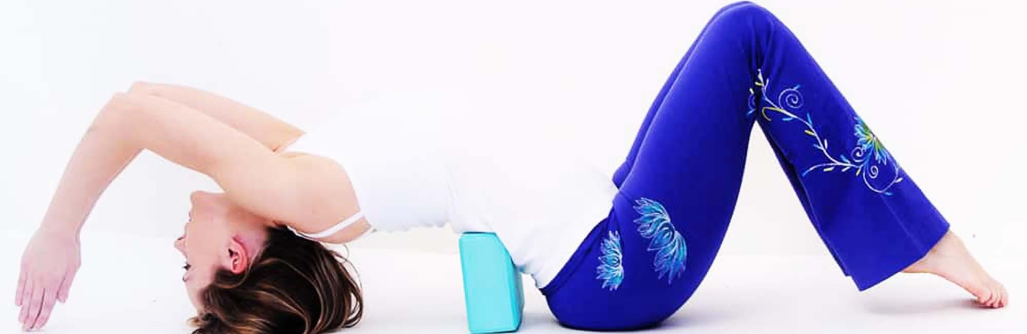 Pantalon yoga femme bleu fleur de lotus - Vetement ohm - Achamana
