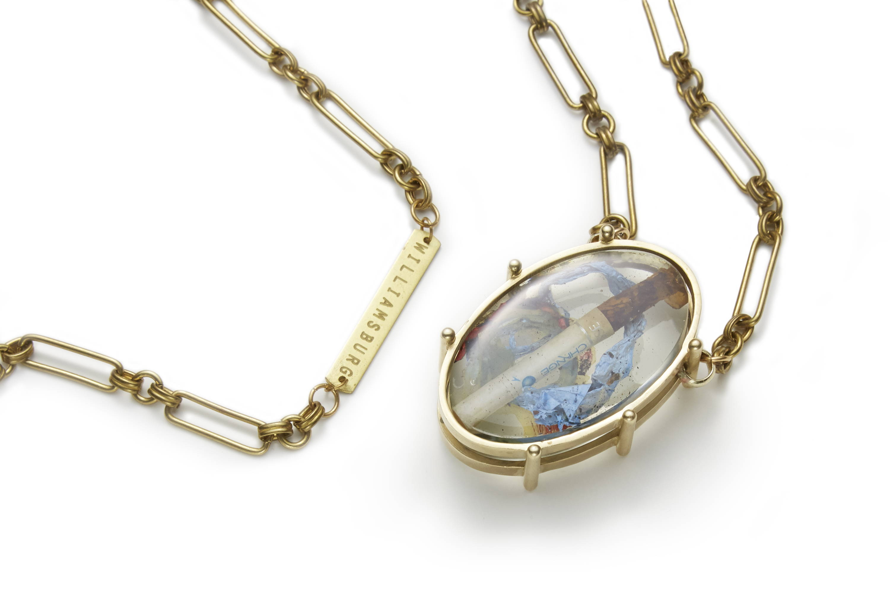 necklace with clear resin made in willaimsburg