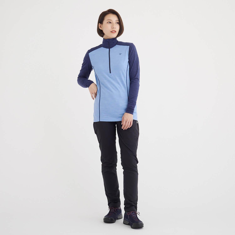 NORRONA(ノローナ)/イコライザー メリノジップネック/ブルー/WOMENS