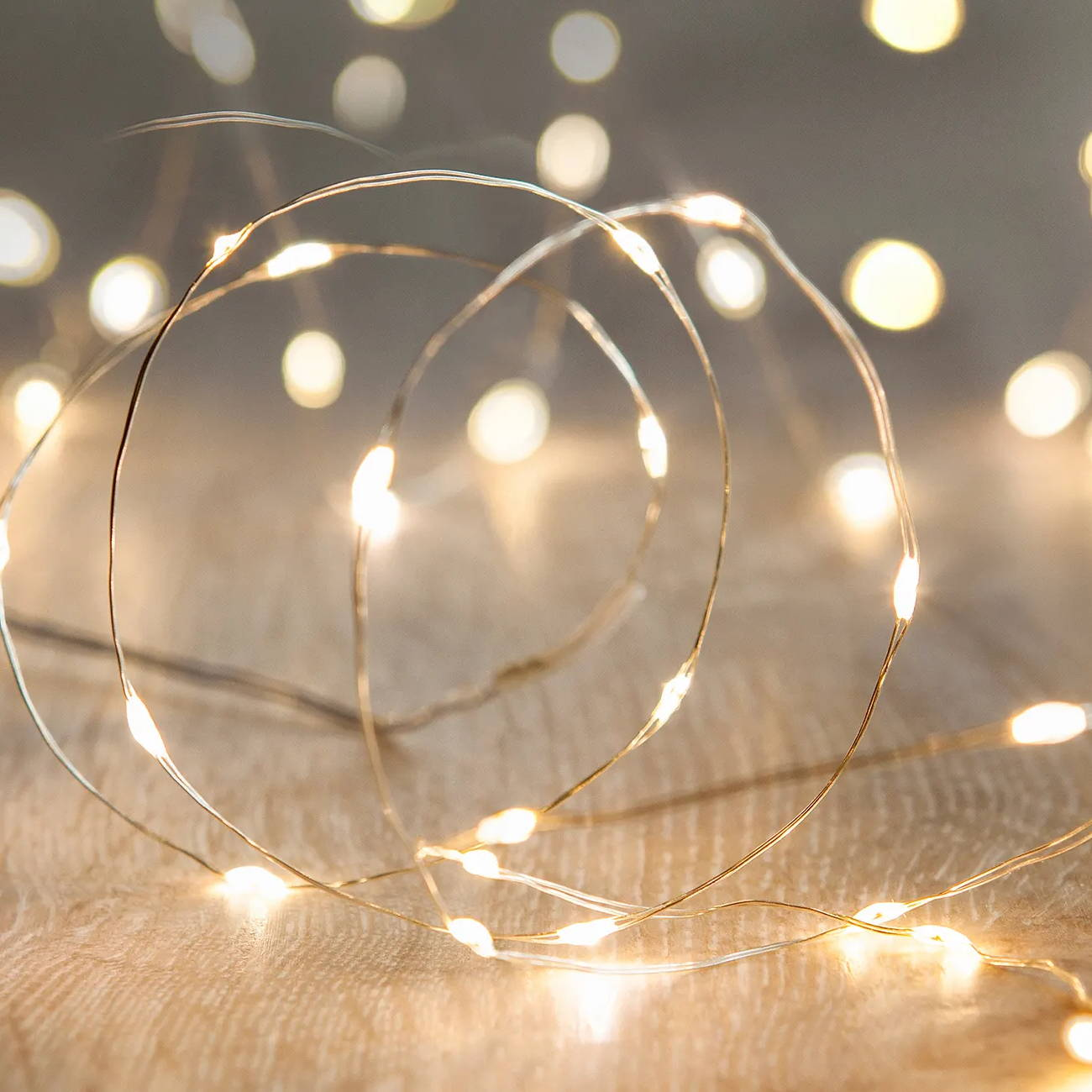 A string of 20 warm white LED micro fairy lights, battery powered and suitable for indoor and outdoor use