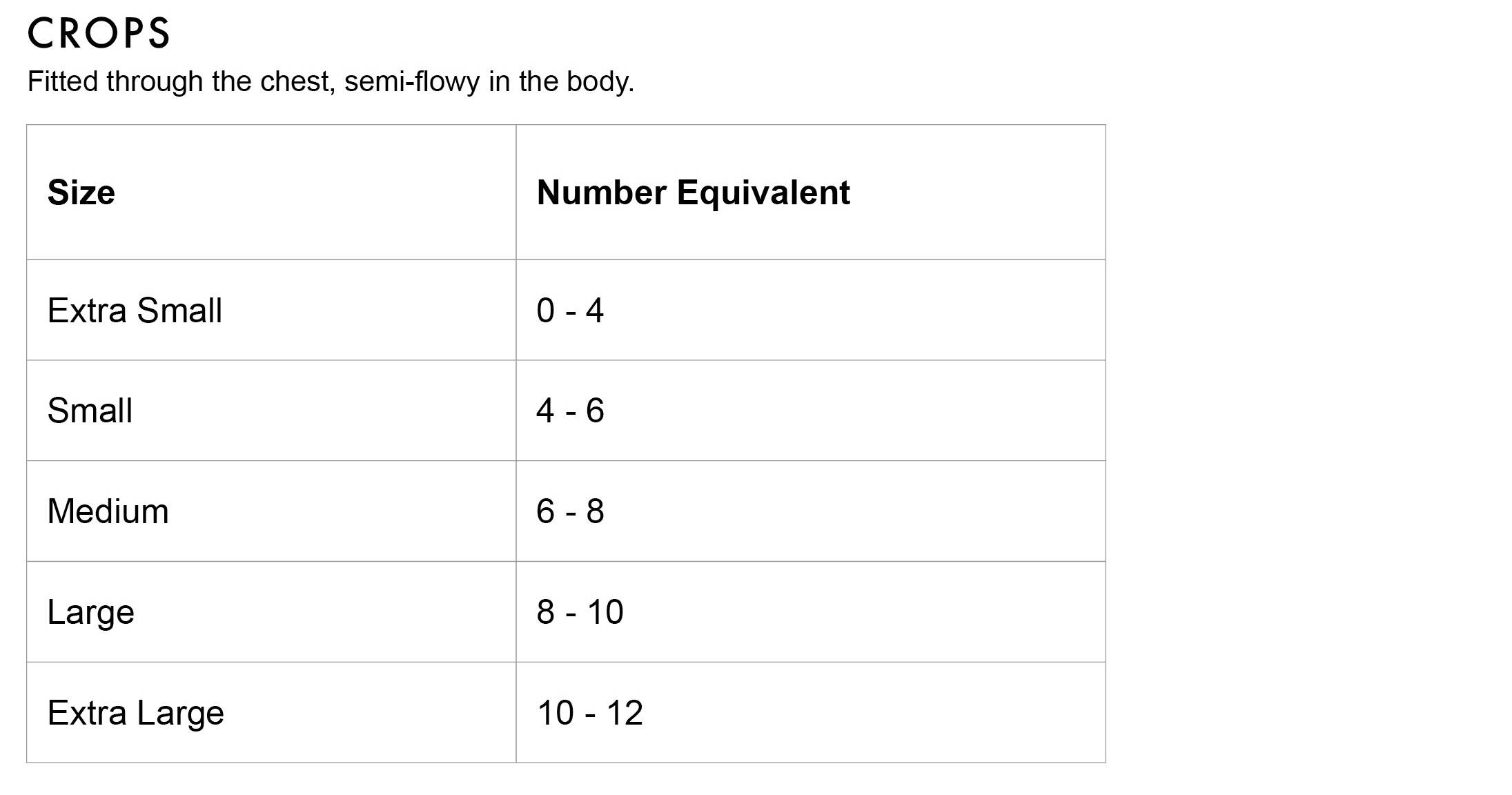 FLEO Crop Size Chart