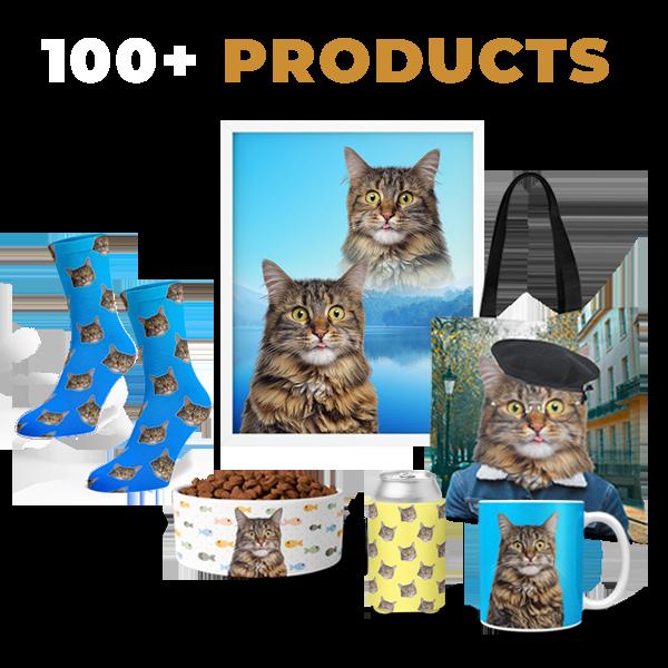 custom cat art on 100 different products, socks, koozies, mugs