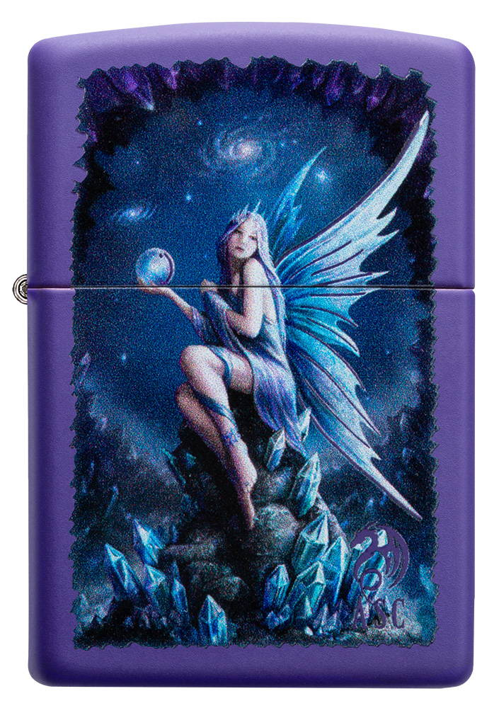 Lighter with cosmic pixie artwork.