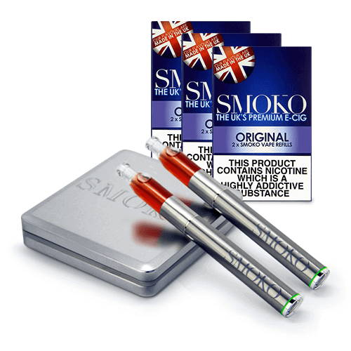 SMOKO Vape e cig starter kit + 3 packs of original tobacco flavour refills + extra battery