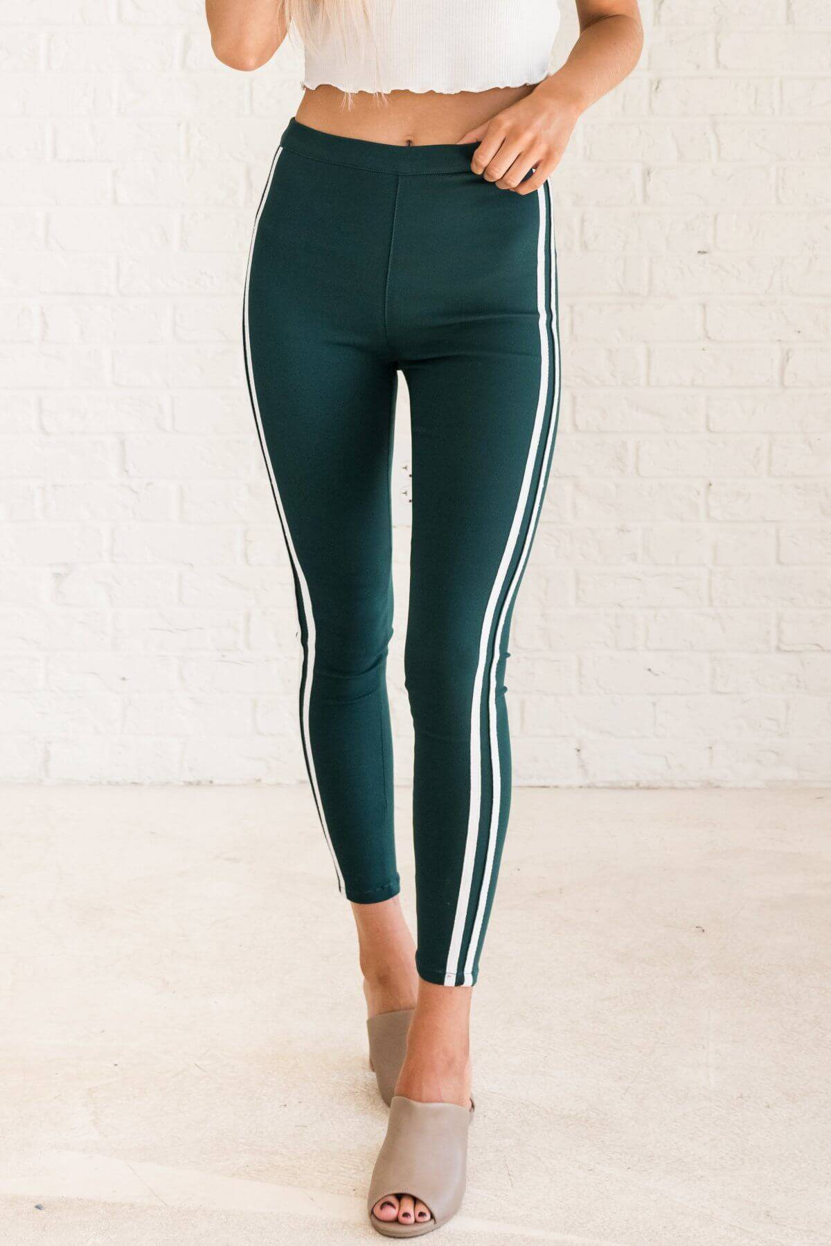 Teal Green Boutique Leggings with White Athletic Side Stripes