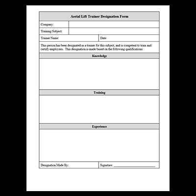 Aerial Lift Trainer Designation Form