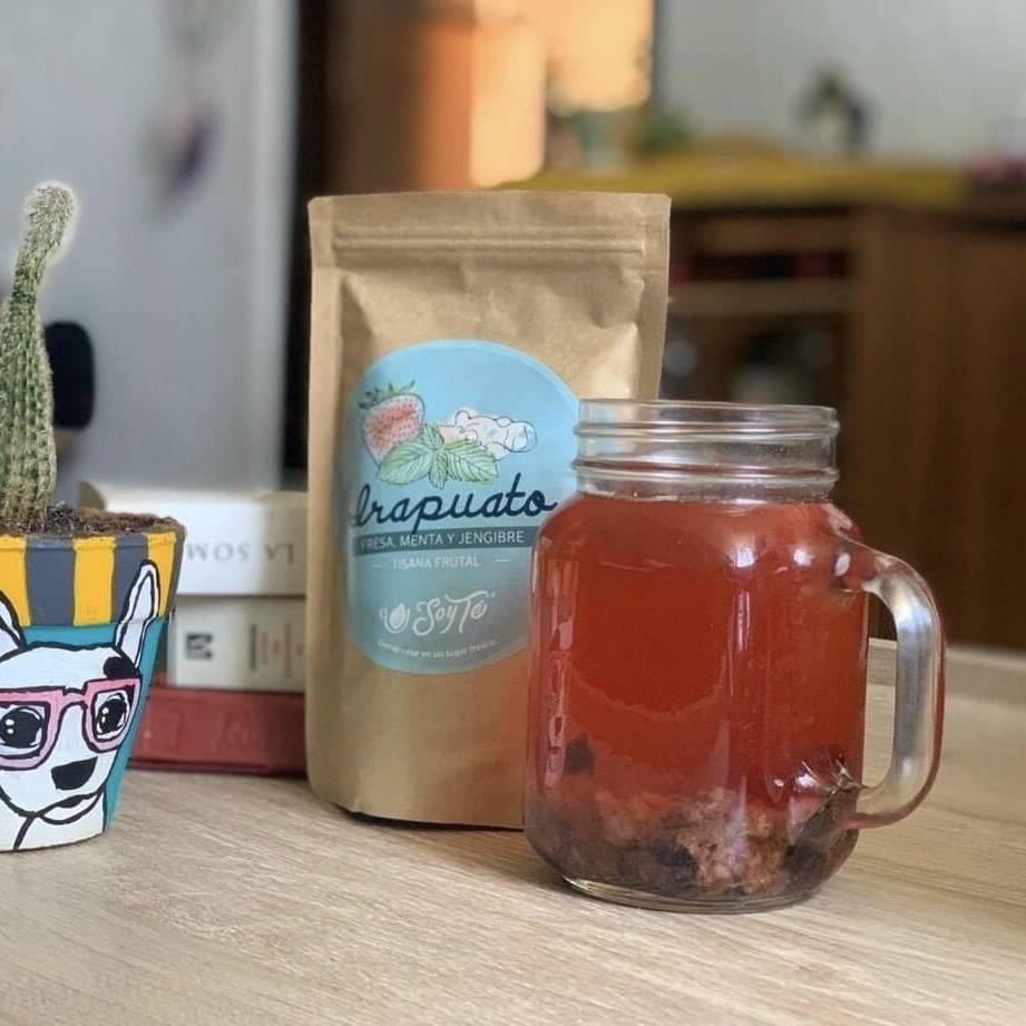 tisana fresa, jamaica, jengibre, menta, mora azul y piña