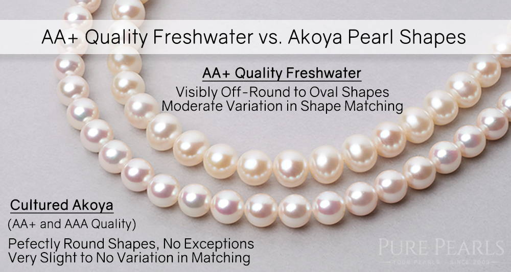 Comparing Freshwater and Akoya Pearl Necklaces by Shape and Quality - AA+ Quality Pearls