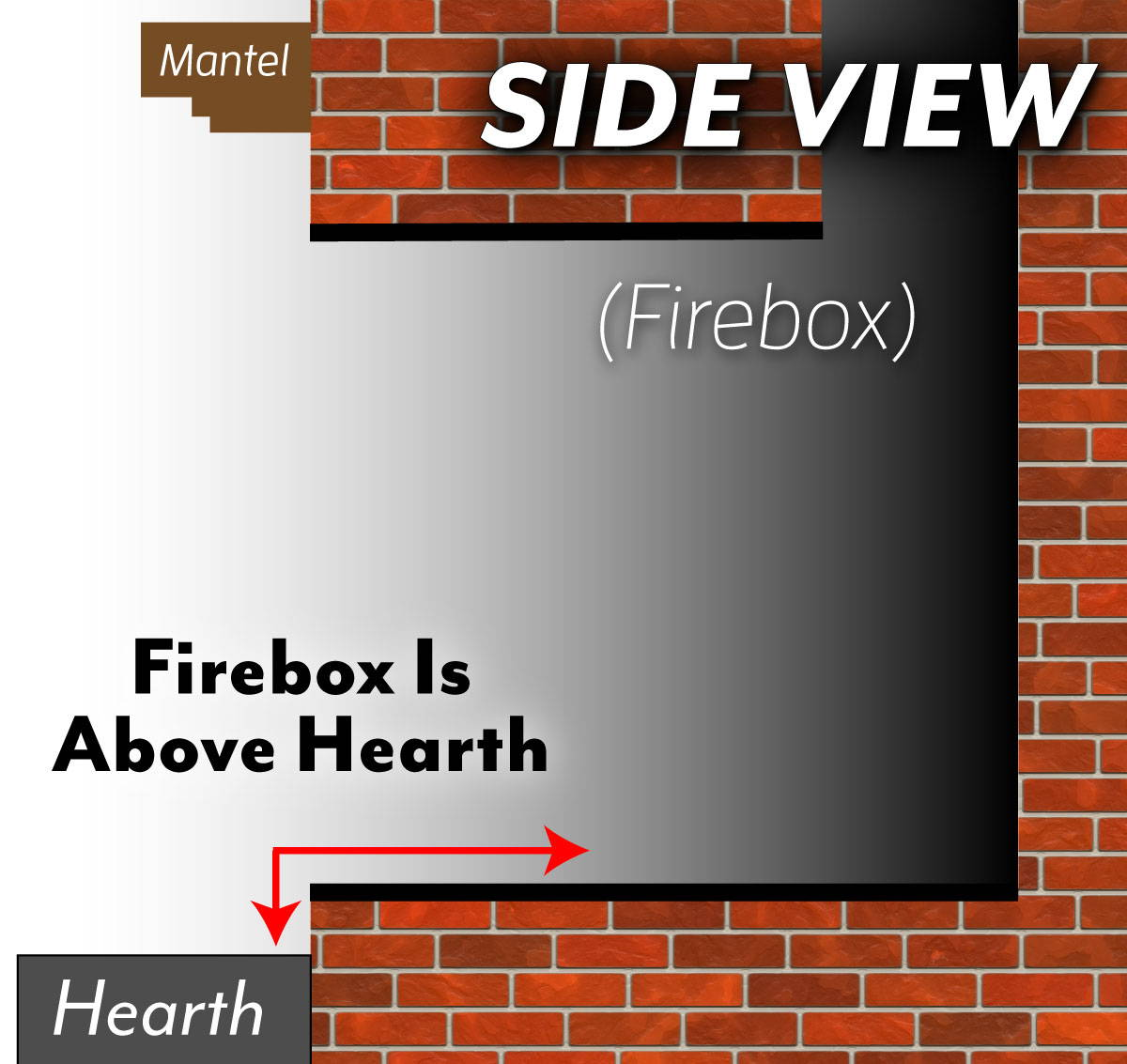 Fire Bed Above Hearth -  Side View
