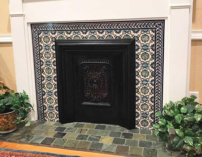 T74 floral surround tiles