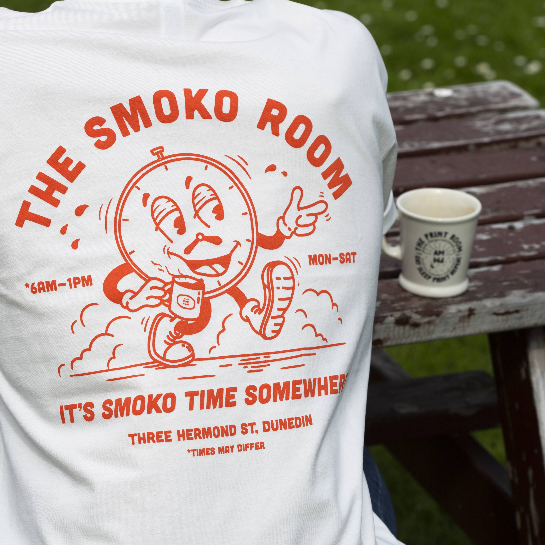 The Print Room custom shop tee The Smoko Room screenprint and embroidery NZ