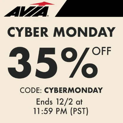 Avia Cyber Monday: 35% off SITEWIDE. Tops, bottoms, Jackets, Leggings, Pants, Bras, Tanks, Shirts and more Avia Vanessa Hudgens clothing! Retro, running shoes to the perfect sneakers to walk in. Avia Trainers, Court shoes, Studio sneakers, casual, lifestyle and athlesiure -- for women, men, girls and boys, Great for holiday