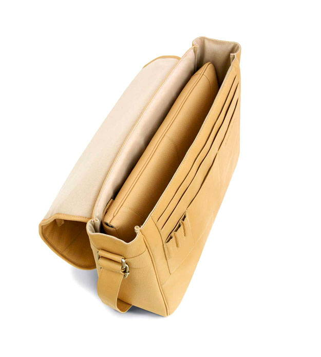 Open view of best mens leather messenger bag by Mac Case