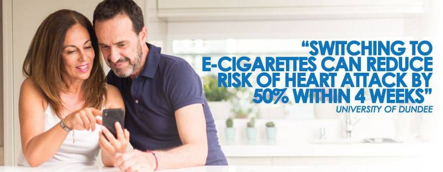 switching to e-cigarettes can reduce your risk of heart attack by 50% within 4 weeks