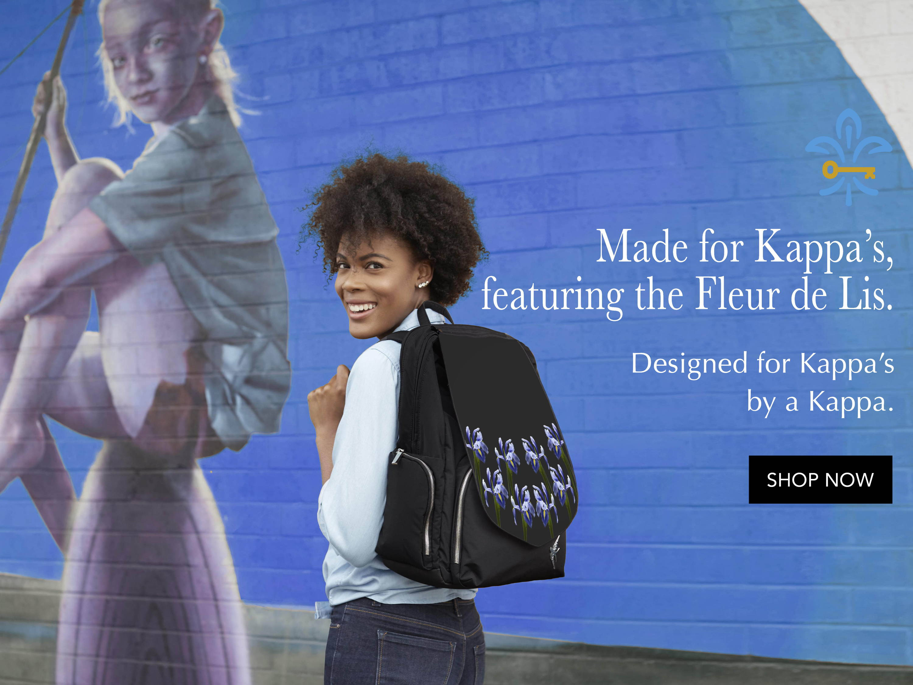 Laptop Backpack by GraceTech.  Shown with the Fleur de Lis (Iris flower) print. Made for Kappa Kappa Gamma.