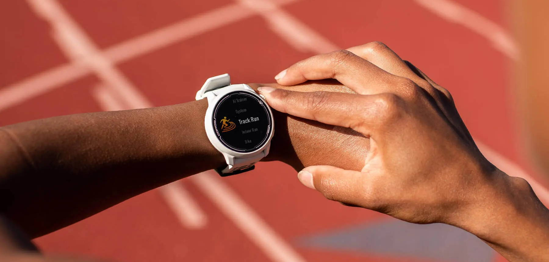 Track runner setting COROS PACE 2 GPS sport watch to Track Mode
