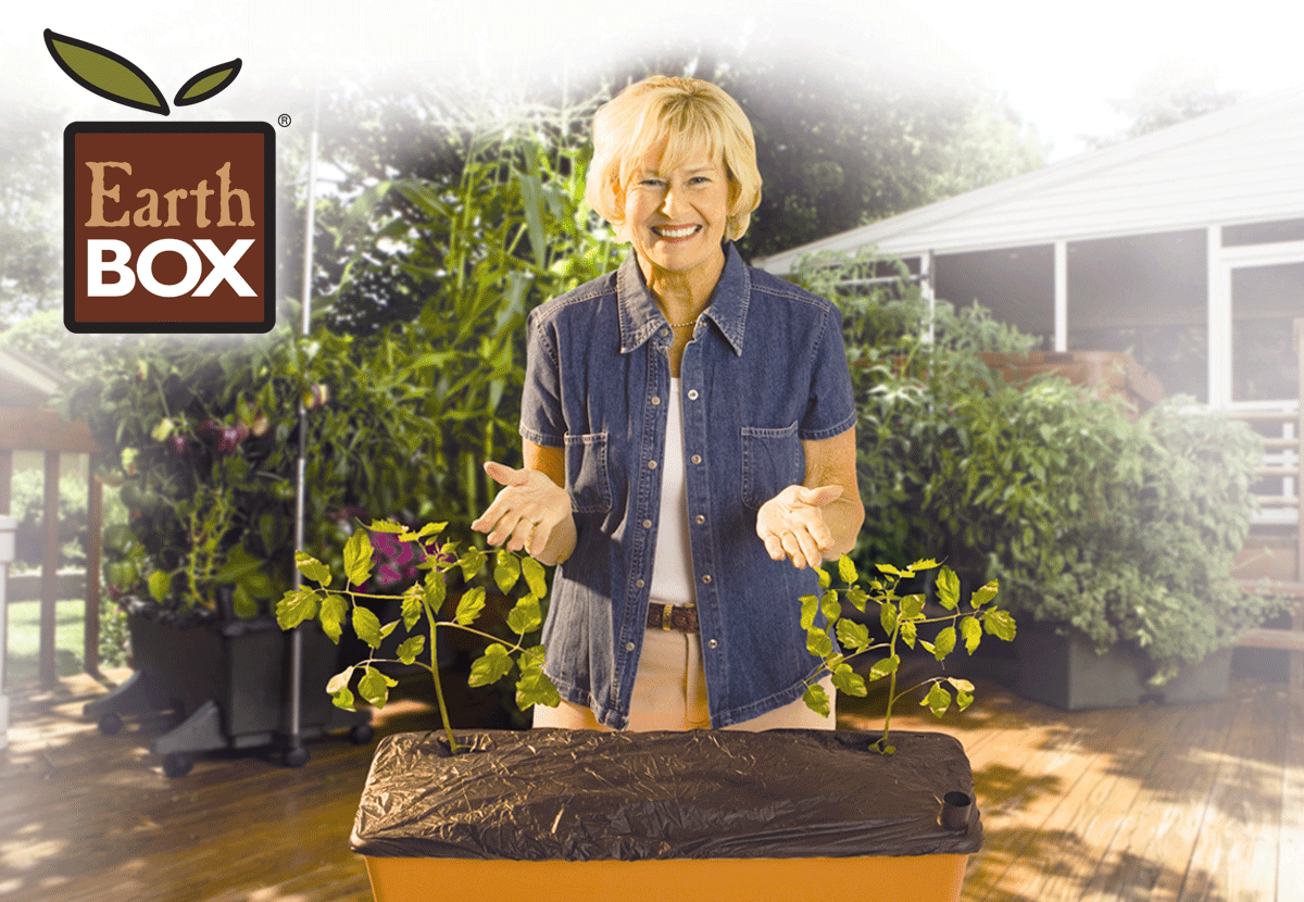 Woman gardner promoting the EarthBox container gardening system