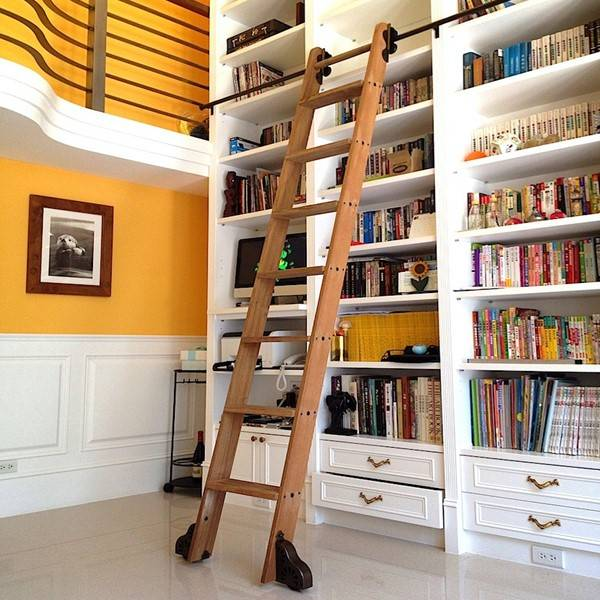 Rolling library bookcase ladder
