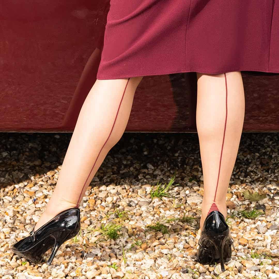 claret seamed stockings | vintage seamed stockings