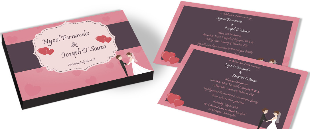 Lovely Hearts Wedding Invitation for Christian