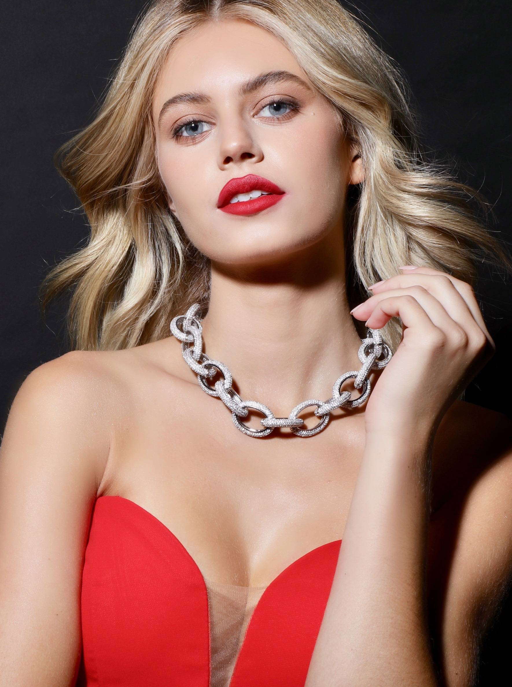 Chain Link Statement Necklace On Model