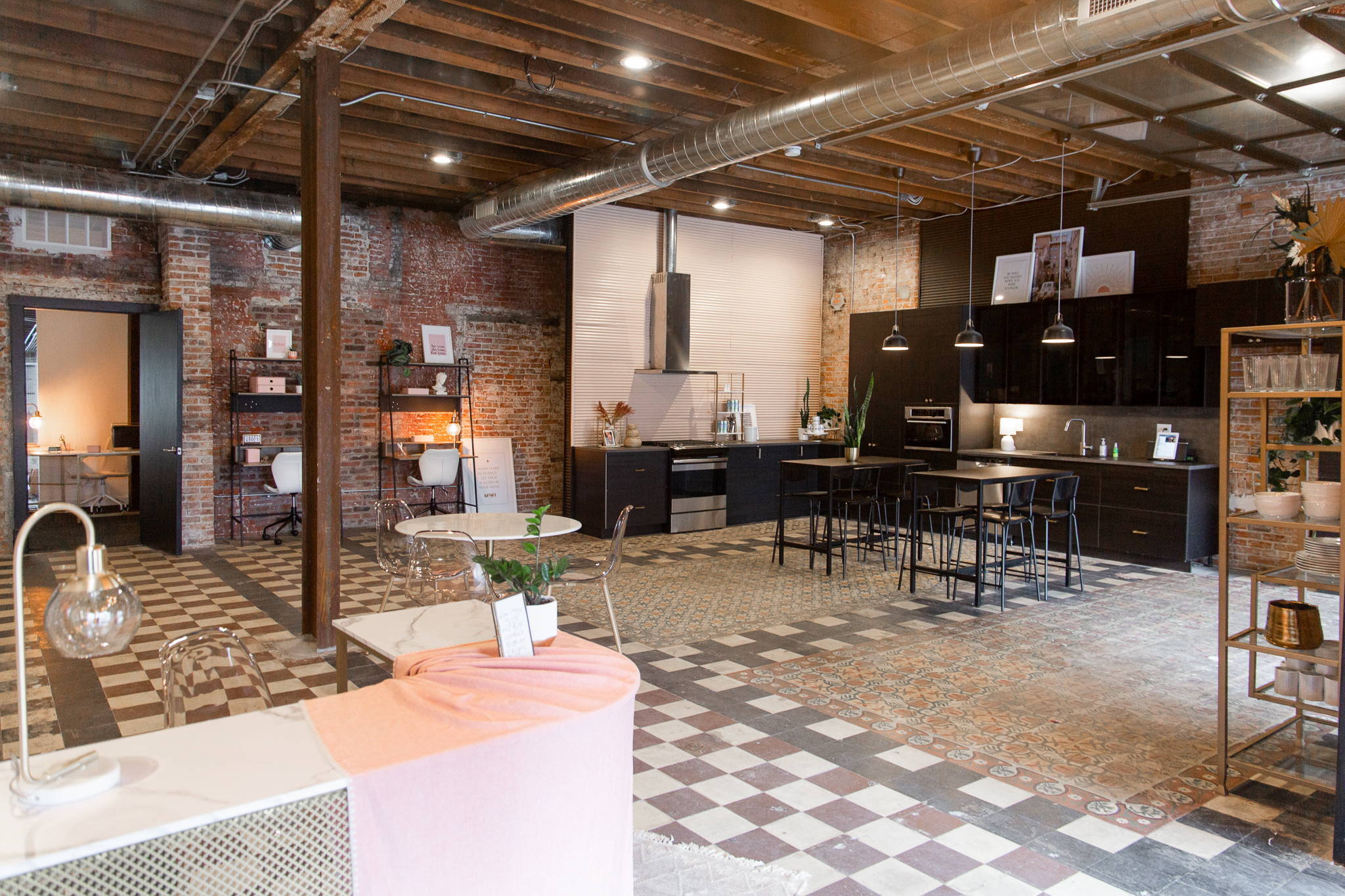 wide image of communal lounge and communal kitchen for all member usage