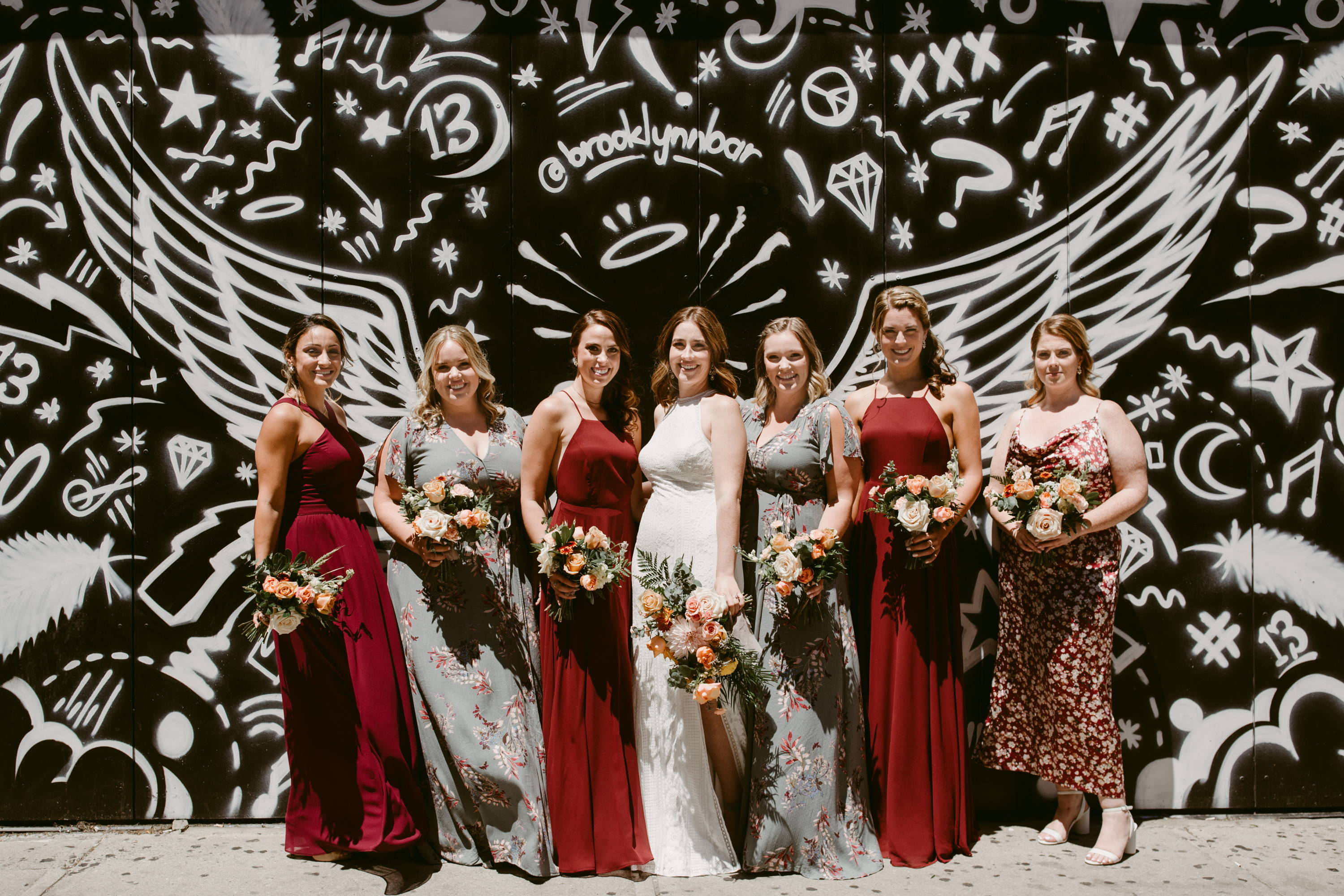 Bridal party with wedding bouquets in Toronto