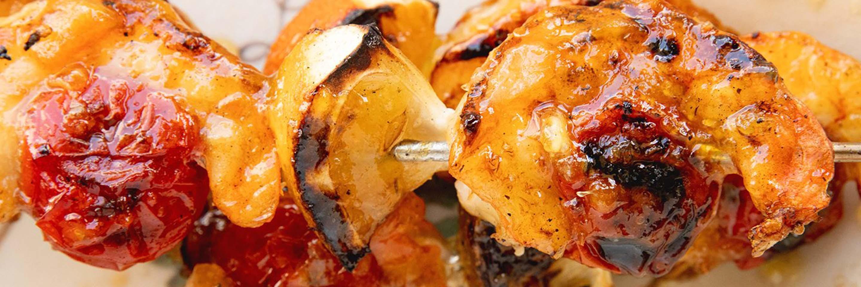 Grilled Shrimp with Orange Bourbon Glaze