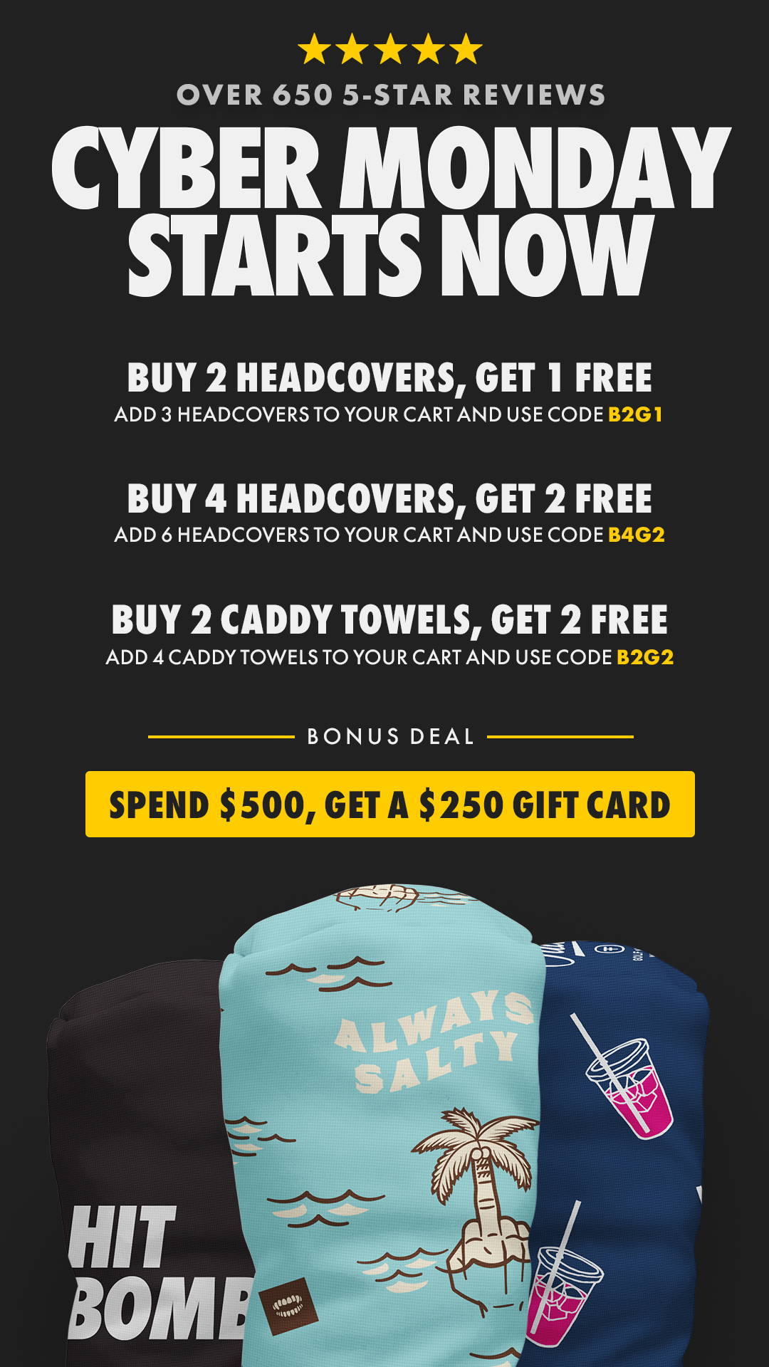 Cyber Monday Starts Now - Buy 2, Get 1 + Buy 4, Get 2 + Free $250 Gift Card when you spend $500!