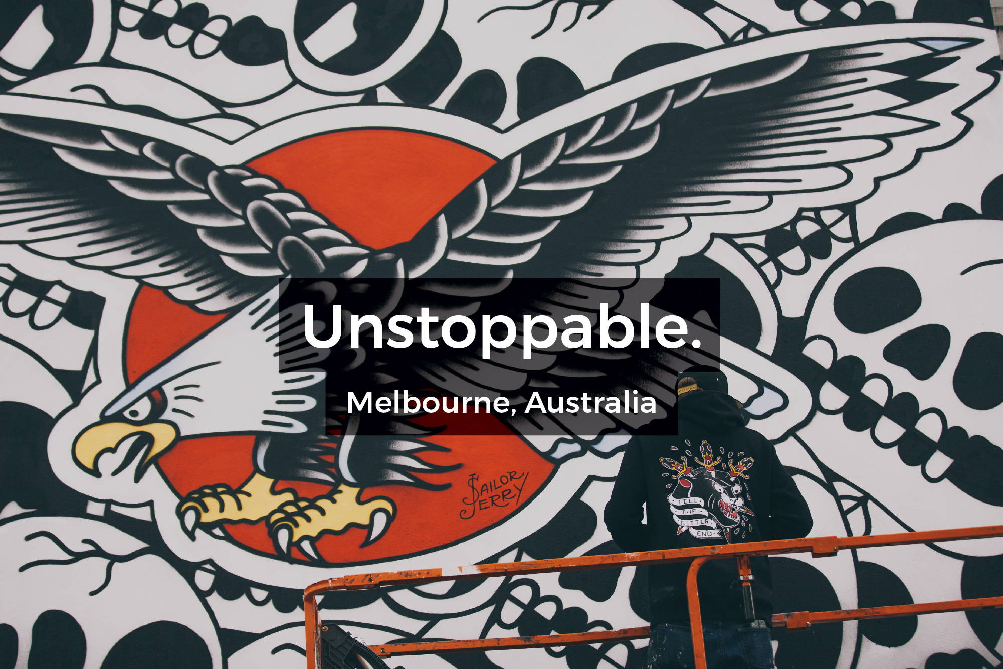 Unstoppable mural in Melbourne, Australia by Steen Jones for Sailor Jerry