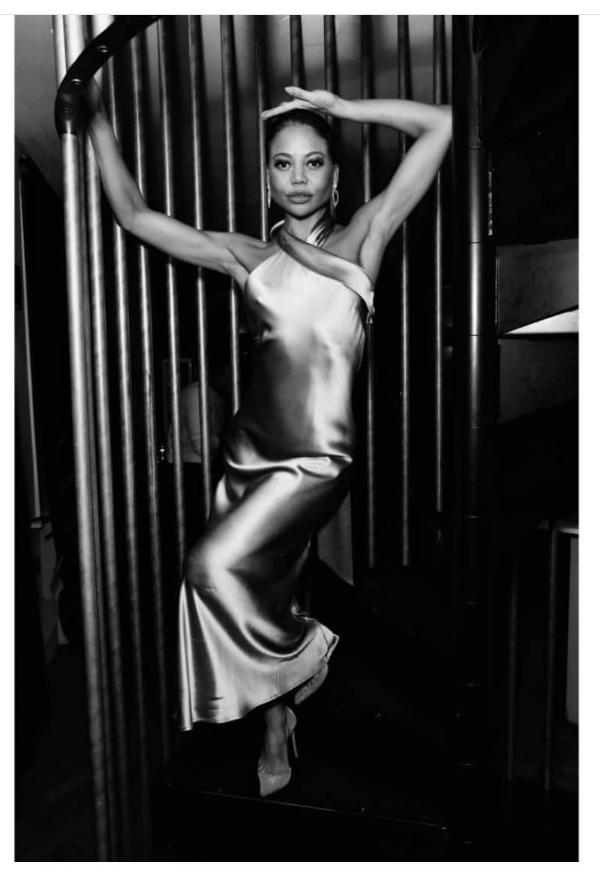 Galvan London Asymmetrical Halter Neckline Satin Platinum Dress