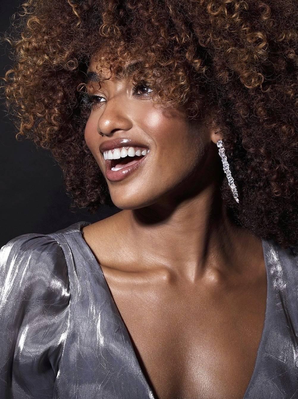 Statement Linear Drop Earrings On Model