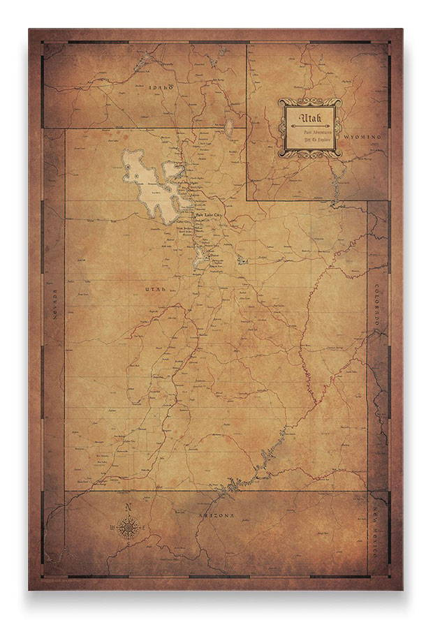 Utah Push pin travel map golden aged