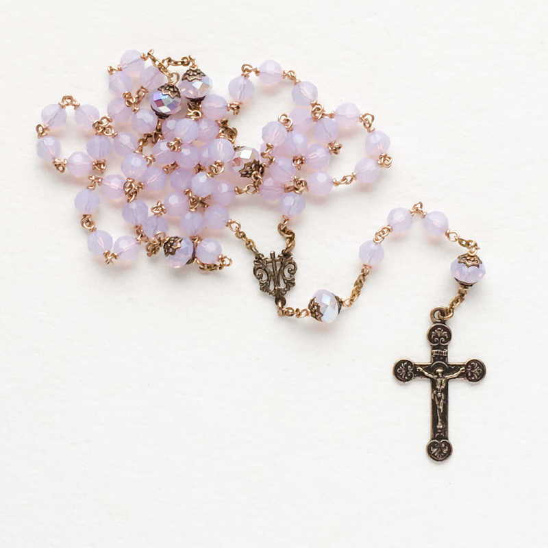Bronze handmade rosary in violet opal Swarovski Crystal by Jennifer Sinclair, owner of Miracoli Rosaries