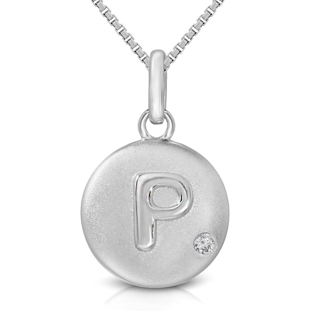 Pure at Birth letter P pendant with greek box necklace