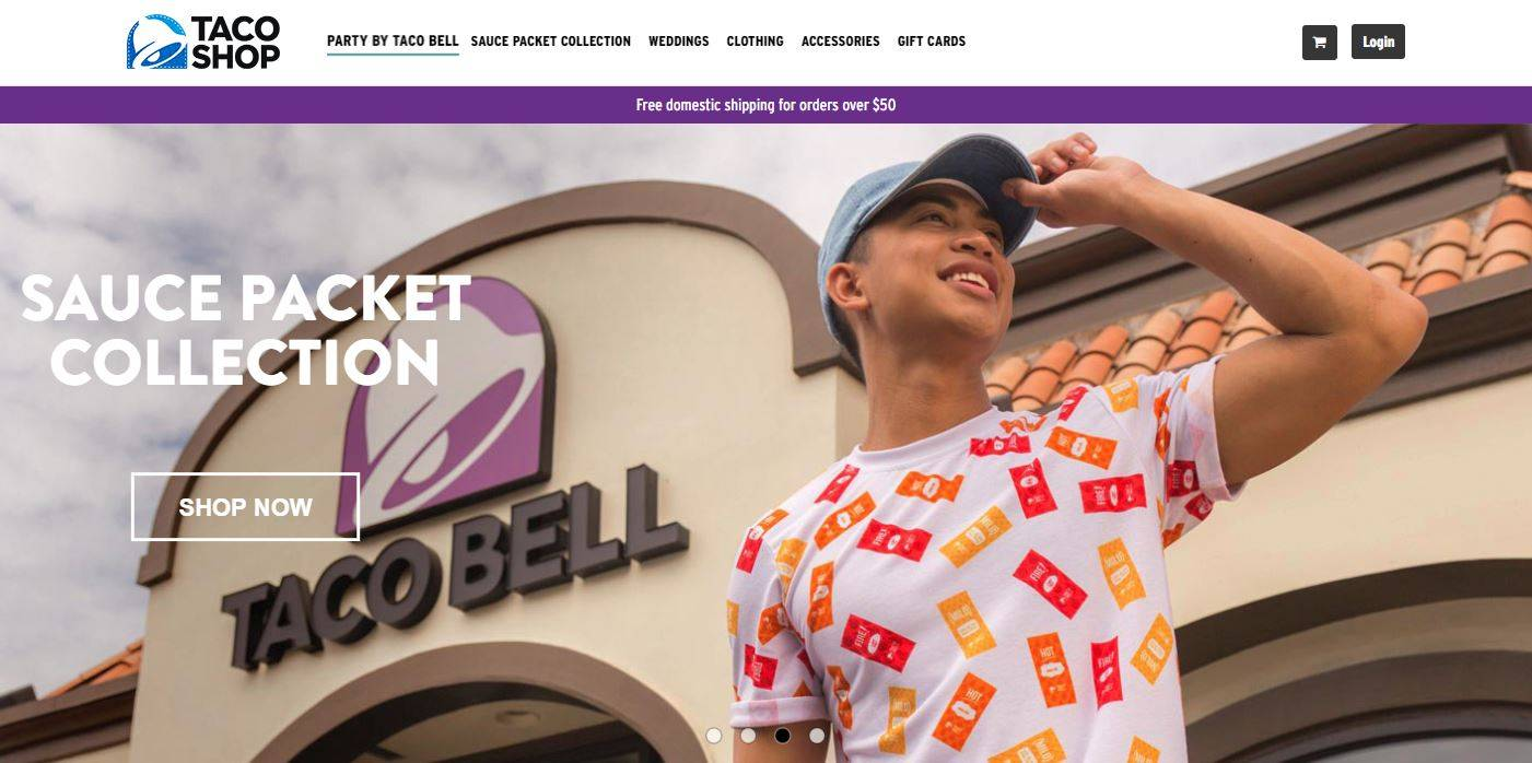 Custom allover print tee for Taco Bell apparel program