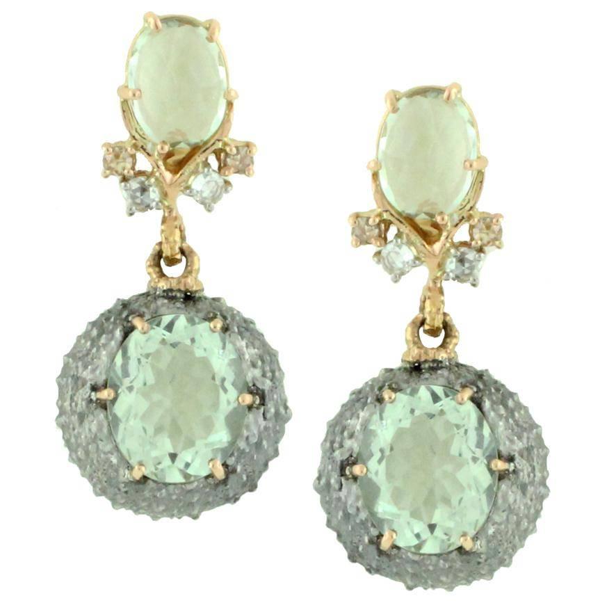 Green Amethyst Urchin Earrings by Frederica Rettore