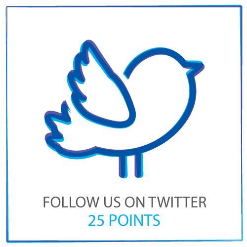 Folgen Sie uns auf Twitter, um 25-Punkte zu sammeln