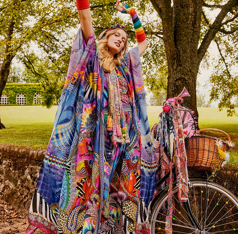 CAMILLA Psychedelica robe and harem pants, CAMILLA rainbow robe, rainbow harem pants, CAMILLA tee