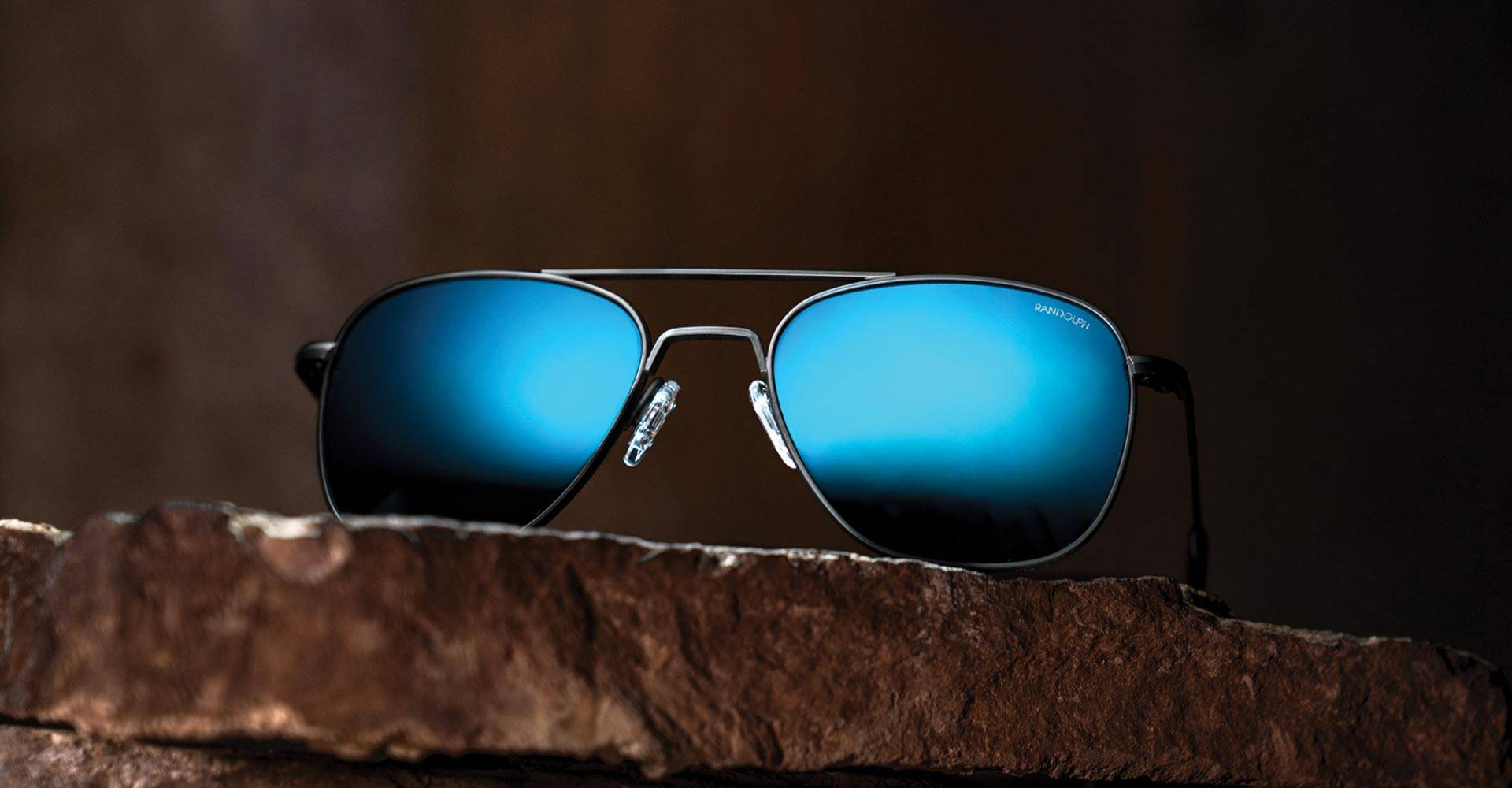 NEW SkyTec Cobalt Blue Mirrored Lenses Pair with Matte Black Aviator sunglasses by Randolph USA