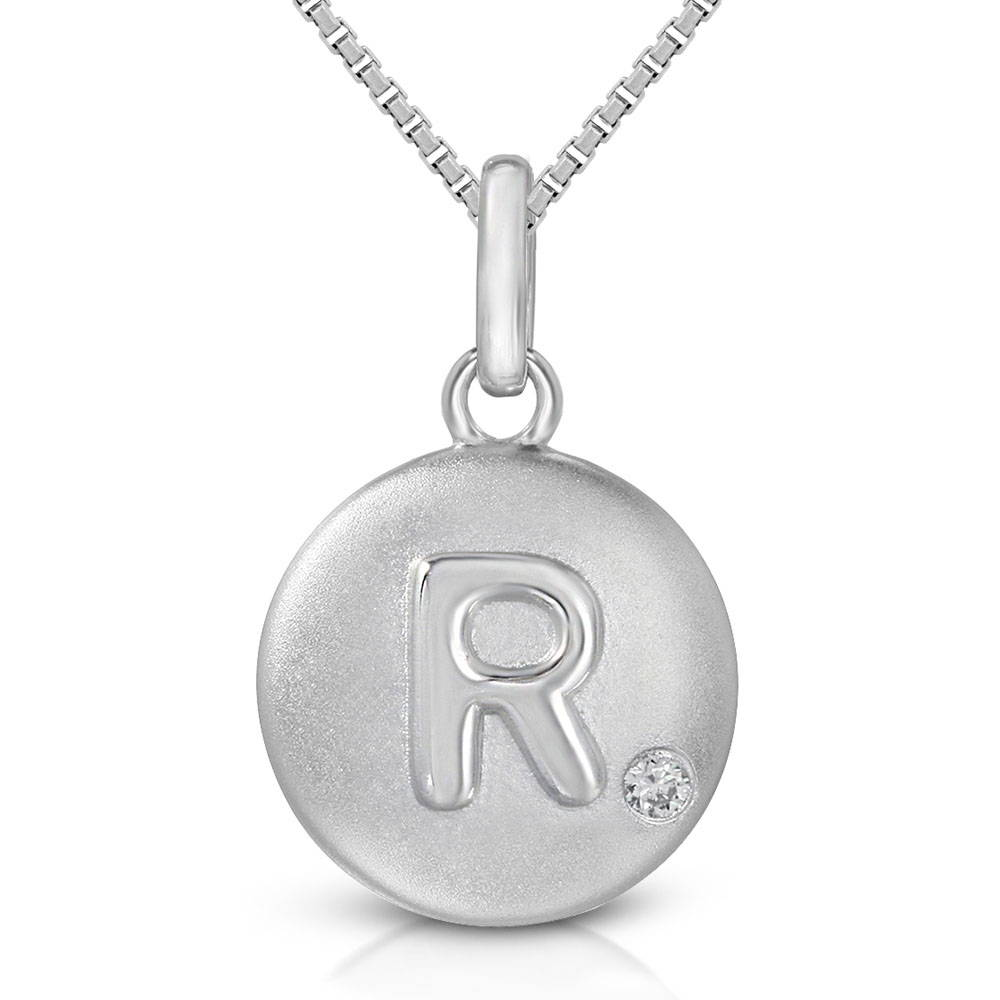 Pure at Birth letter R pendant with greek box necklace